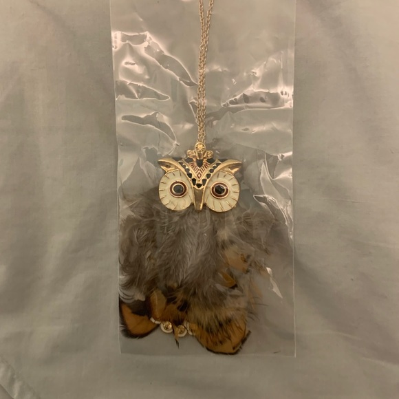 Cute Owl Necklace with Feathers and Long Chain